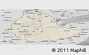 Shaded Relief Panoramic Map of Ethiopia, desaturated