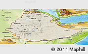 Shaded Relief Panoramic Map of Ethiopia, physical outside