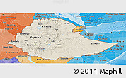 Shaded Relief Panoramic Map of Ethiopia, political shades outside, shaded relief sea