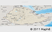 Shaded Relief Panoramic Map of Ethiopia, semi-desaturated, land only