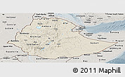 Shaded Relief Panoramic Map of Ethiopia, semi-desaturated