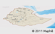 Shaded Relief Panoramic Map of Ethiopia, single color outside