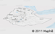 Silver Style Panoramic Map of Ethiopia, single color outside