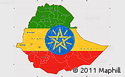 Flag Simple Map of Ethiopia, flag centered