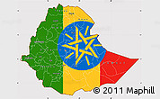 Flag Simple Map of Ethiopia, flag aligned to the middle
