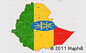 Flag Simple Map of Ethiopia, flag rotated