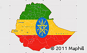 Flag Simple Map of Ethiopia