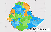 Political Simple Map of Ethiopia, cropped outside