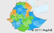 Political Simple Map of Ethiopia, single color outside