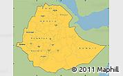 Savanna Style Simple Map of Ethiopia, single color outside