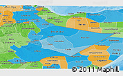 Political Shades Panoramic Map of Somali