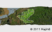 Satellite Panoramic Map of Gedio, darken