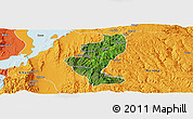 Satellite Panoramic Map of Gedio, political outside