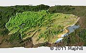Satellite Panoramic Map of North Omo, darken