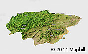 Satellite Panoramic Map of North Omo, single color outside