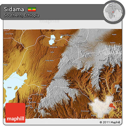 Physical 3D Map of Sidama