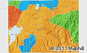 Political 3D Map of Sidama