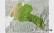 Satellite 3D Map of Sidama, lighten, semi-desaturated