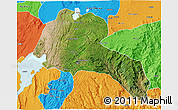 Satellite 3D Map of Sidama, political outside
