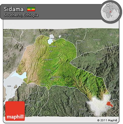 Satellite 3D Map of Sidama, semi-desaturated
