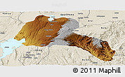 Physical Panoramic Map of Sidama, shaded relief outside