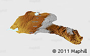 Physical Panoramic Map of Sidama, single color outside