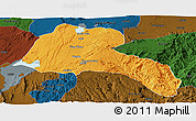 Political Panoramic Map of Sidama, darken