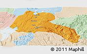 Political Panoramic Map of Sidama, lighten