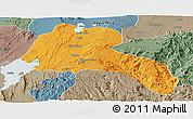 Political Panoramic Map of Sidama, semi-desaturated