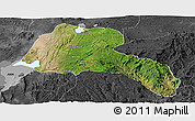 Satellite Panoramic Map of Sidama, darken, desaturated