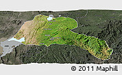 Satellite Panoramic Map of Sidama, darken, semi-desaturated