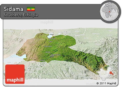Satellite Panoramic Map of Sidama, lighten