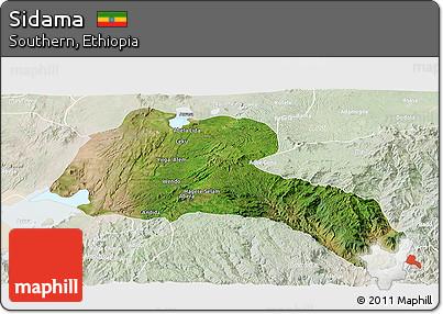 Satellite Panoramic Map of Sidama, lighten
