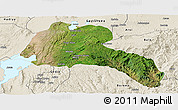 Satellite Panoramic Map of Sidama, shaded relief outside