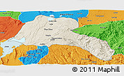 Shaded Relief Panoramic Map of Sidama, political outside