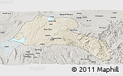 Shaded Relief Panoramic Map of Sidama, semi-desaturated
