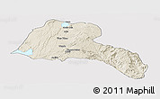 Shaded Relief Panoramic Map of Sidama, single color outside
