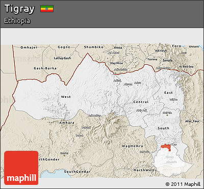 Classic Style 3D Map of Tigray