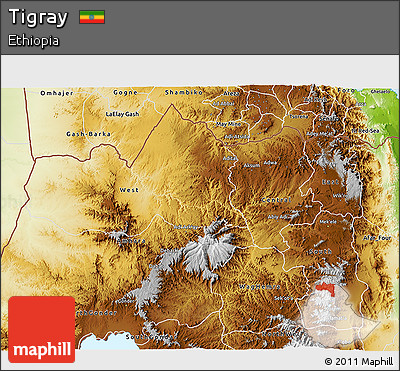 Physical 3D Map of Tigray