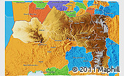 Physical 3D Map of Tigray, political outside