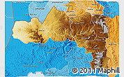 Physical 3D Map of Tigray, political shades outside