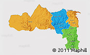 Political 3D Map of Tigray, cropped outside