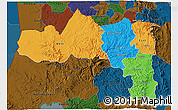 Political 3D Map of Tigray, darken