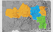 Political 3D Map of Tigray, desaturated
