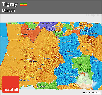 Political 3D Map of Tigray