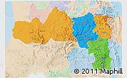 Political 3D Map of Tigray, lighten