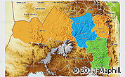 Political 3D Map of Tigray, physical outside