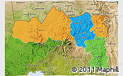 Political 3D Map of Tigray, satellite outside