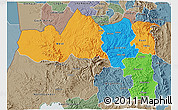 Political 3D Map of Tigray, semi-desaturated