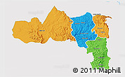 Political 3D Map of Tigray, single color outside